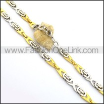 Decorous Gold and Silver Plated Necklace n000766