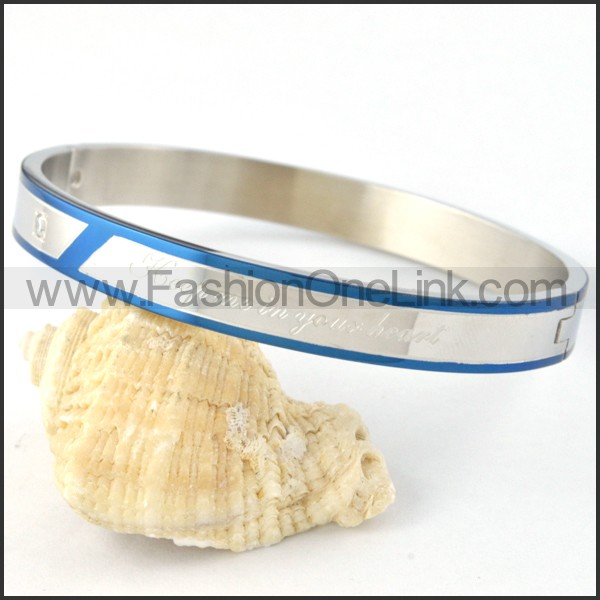 Blue Plated Sides Silver Couple Bangle b000437