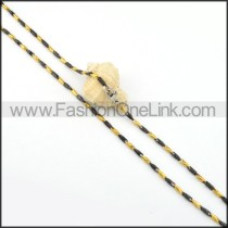 Black and Golden Interlocking Chain Plated Necklace   n000079