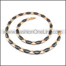 Rose Golden and Black Interlocking Necklace n000890