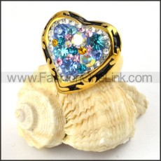 Loyal crystal Ring in Gold Stainless Steel  r000204