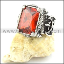 Stainless Steel Square Facted Red Stone Ring r000727