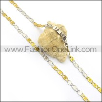Gold and Silver Flat Interlocking Chain Plated Necklace n000904