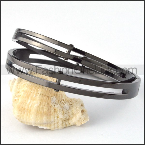 Chic Black Plated Couple Bangle b000394