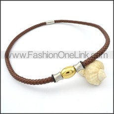 Brown Leather Golden Bead  Necklace    n000102
