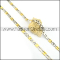 Chic Two Tone Plated Necklace n000605