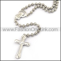 Silver Cross Rosary Necklace n001199