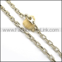 Silver Interlocking Chain Stamping Necklace n000930