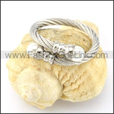 Stainless Steel Elegant Rope Ring in Silver Color r000558