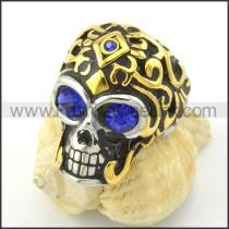 Blue Zircon Eyes Skull Ring r001168
