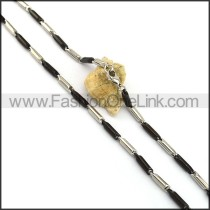 Black and Silver Cylinder Plated Necklace n001065