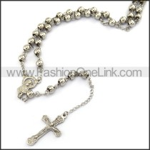 Delicate Silver Cross Rosary Necklace n001197