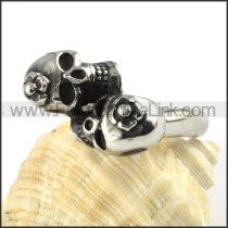 Twin-skull Heads Stainless Steel Ring r000059