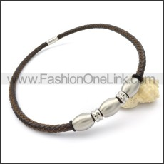 Black Leather Silver Bead  Necklace   n000094