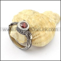 Stainless Steel Classic Stone Ring r000450