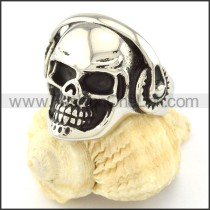 316L Stainless Steel Musician DJ  Skull Ring  r000668
