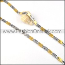 Delicate Two Tone Interlocking Chain Plated Necklace     n000060