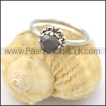 Graceful Stainless Steel Stone Ring  r002082