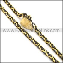 Black and Golden Plated Necklace n000737