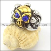 Blue Zircon Eyes Skull Ring r001162