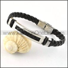 Silver Hasp Black Leather Bracelet b000014