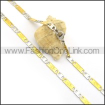 Two Tone Flat Interlocking Chain Plated Necklace n000911