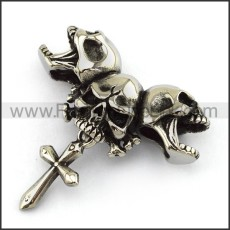 Exquisite Stainless Steel Skull Pendant   p003990