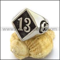 Number 13 Stainless Steel Biker Ring     r002972