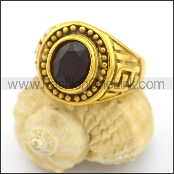 Vintage Stone Stainless Steel Ring r002691