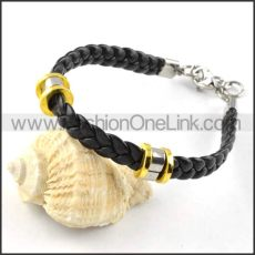 Exquisite Black Leather Bracelet b000028