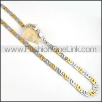 Two Tone Interlocking Chain Plated Necklace     n000062