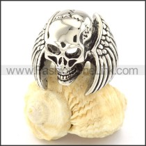 Stainless Steel Skull With Wings Design Ring r000674