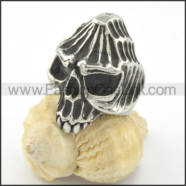 Stainless Steel Wicked Skull Ring r001199