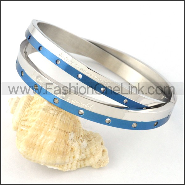 Blue Stripe Small Round Holes Couple Bangle b000433