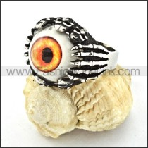 Stainless Steel Prong Setting Yellow Eye Ring r000528