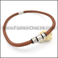 Succinct Leather Necklace   n000100