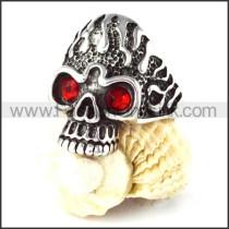 Stainless Steel Red Eyes Fire Skull Ring r000260