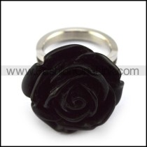 Black Rose on Silver Tone Ring Band r004019