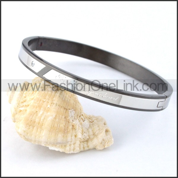 Black Plated Inside Silver Outside Couple Bangle b000435