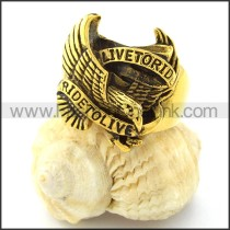 Yellow Gold Pating RIDE TO LIVE Eagle Ring r000726