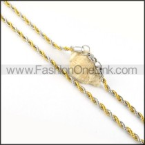 Two Tone Twisted Rope Plated Necklace    n000053