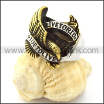 Vintage Mixed Silver and Gold Plating LIVE TO RIDE Eagle Ring  r000725