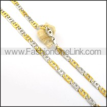 Interlocking Two Tone Plated Necklace    n000265