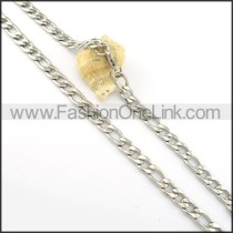 Silver Interlocking Chain Stamping Necklace     n000289