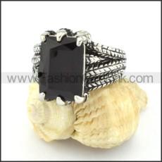316L Vintage Stone Ring r000542