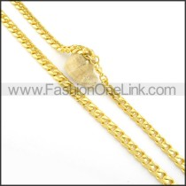 Succinct Golden Chain Plated Necklace n000571
