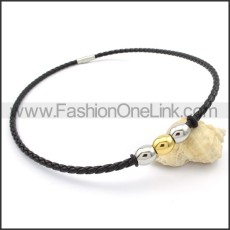Black Leather Silver and Golden Bead  Necklace  n000091