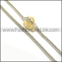 Silver Interlocking Stainless Steel Stamping Necklace n000947