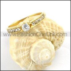 Gold Stainless Steel Promise Ring r000178