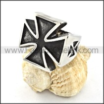 Stainless Steel Classic Cross Ring r000522